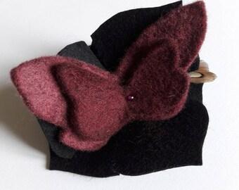 fascinator hair clip flower black and Burgundy (OOAK)