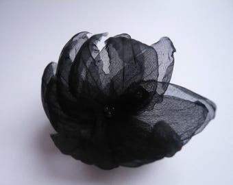 black silk petals flower hair clip