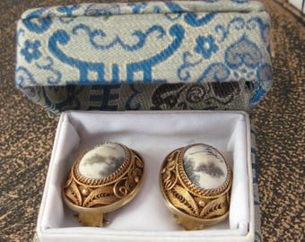 ASIAN Vintage Gold Vermeil Silver CHiNESE Cannetille Filigree CRANE Birds Artisan Carved Clip Earrings Orig Silk Box Edwardian Qing Nouveau