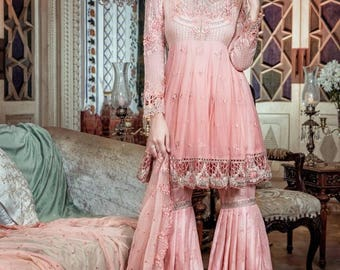 Maria B Eid Collection, mbroidered pastel peach, new arrivals, pakistani clothes/indian outfits