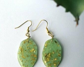 Resin Earrings, Sage Gold Flake Earrings 2