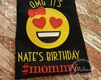 Family Birthday Emoji Applique shirt - Customizable -  Emoji Birthday Shirt 113a #mommy2
