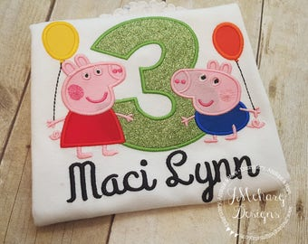 Peppa Pig & George Pig Birthday Custom Tee Shirt - Customizable -  Infant to Youth 271 lime