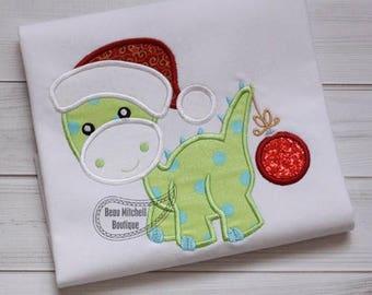 Christmas Dinosaur with Ornament - Christmas Custom Tee Shirt - Customizable