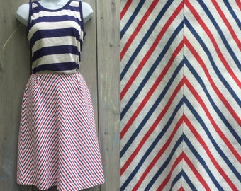 Vintage skirt | 1960s red, white and blue striped white cotton A line skirt