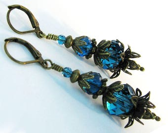 Teal Glass Crystals, Dangle Earrings, Victorian Earrings, Filigree Petals, Antiqued Bronze, Boho Earrings, Stylized Pomegranate, Mystical