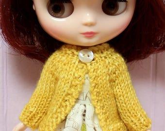 BLYTHE Middie doll hand knit wool cardigan sweater - sunshine yellow