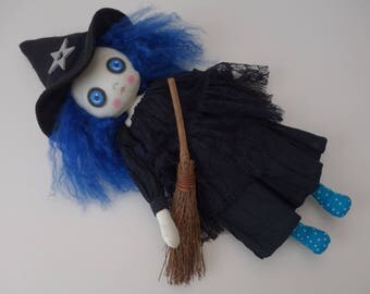 OOAK-Art Doll- Witch-Halloween-Gothic-Cloth/Textile-Collectable - Handmade by Cheryl Austin