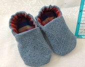 CLEARANCE — Denim slip on baby crib shoes 0-3 months