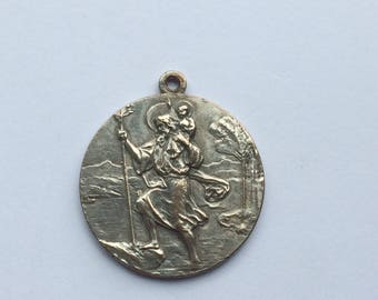 Vintage silvered Saint Christopher Medal, guardian of car and drivers, religious saint medal