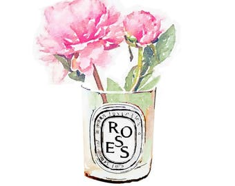 Diptyque Candle DIGITAL ART PRINT Pink Rose Flower Vase Print from Watercolor Painting Fashion Illustration Poster