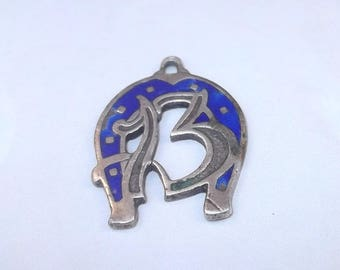 SUMMER SALE Lucky 13 and Horseshoe 800 Silver Enamel Charm, Good Luck Pendant, Talisman, Vintage Italian, Pendant, Cobalt Blue
