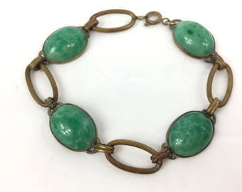 Peking Glass Vintage Bracelet Green Cabochon Roaring 20's Rare Beauty