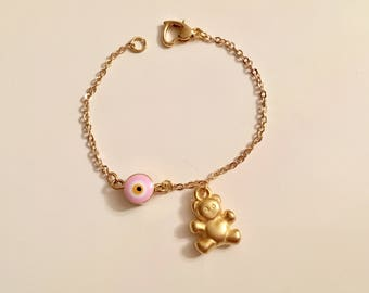 Pink Evil Eye Bear Charm Bracelet, Amulet  Gold Anklet, Bear Ankle Bracelet, Kids Jewelry, Toddler Jewelry, Lucky Charm Childrens Jewelry
