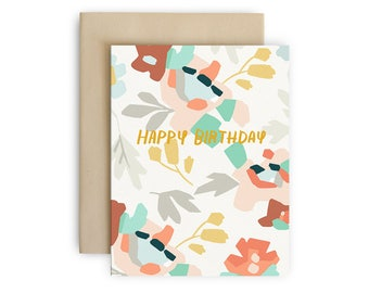 Modern Florals Birthday Card - Hand Lettered Happy Birthday Greeting Card