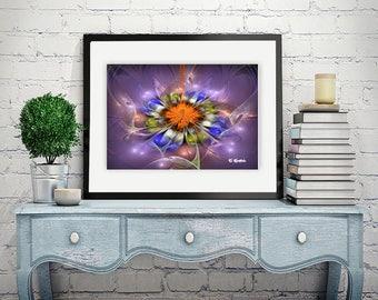 Purple blue art, giclee print, fractal art, minimalist art, modern art, geometric art, abstract art, sacred geometry, computer geek gift,art