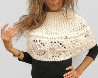 Wool Hand Knitted Wedding Bridal Capelet Wrap Shawl  Cover Up  IVORY WHITE