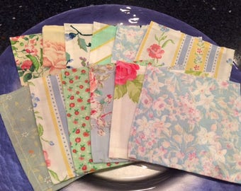 Tea Party Cloth Napkins, Set of 12, Pretty Pastels, 5 inch, by CHOW with ME