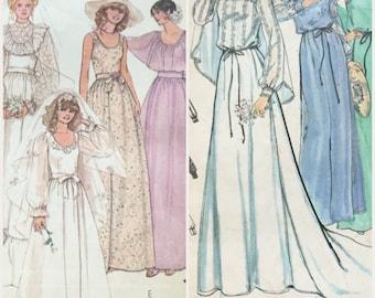 Vintage wedding dress pattern lot McCalls 6405 Butterick 6514