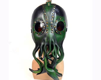 Cthulhu Leather Mask , Handmade Mask , Green Leather ,  Tentacles , Lovecraftian , Cephalopod , Octopus Mask , Squid ,  Cosplay , Masquerade