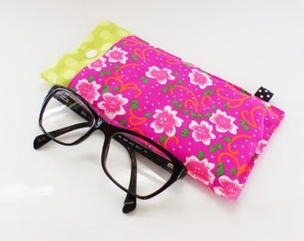 Case with glasses fabric, quilted, neon flowers pink and lime polka dots