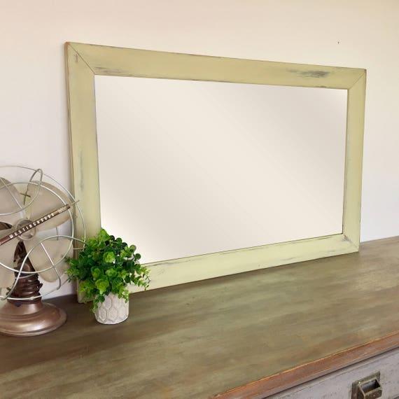 Distressed Wood Mirror - Fixer Upper Decor - Green Mirror - Wooden Framed Mirror - Beach Cottage Decor - Rustic Mirror - Farmhouse Decor