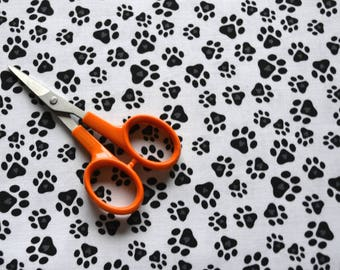 Dog Fabric, Black Puppy Paw Prints/White Cotton Sewing Material/Quilting, Clothing, Craft/Fat Quarter, By The Yard, Yardage