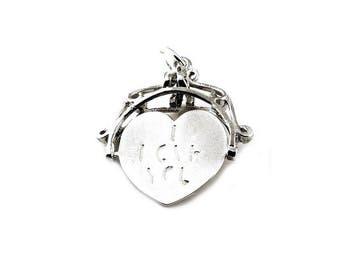 Sterling Silver Large I Love You Spinner Fob Charm For Bracelets