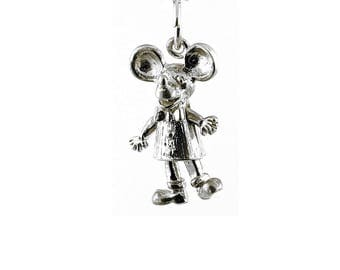 Sterling Silver Moving Mickey Mouse Charm For Bracelets