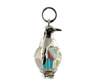 Sterling Silver & Swarovski Crystal Set Penguin Charm For Bracelets
