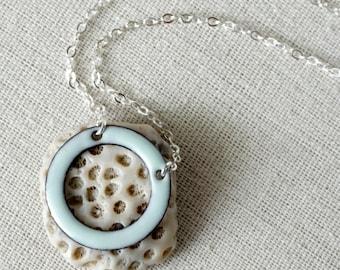 Seafoam Green Enamel Circle Necklace - Minimalist Jewelry, Enamel Jewelry, Minimalist Necklace, Geometric Jewelry, Geometric Necklace, Boho