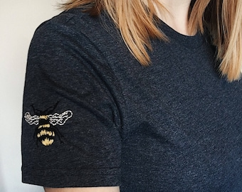 Bee Yourself hand embroidered tshirt sleeve detail