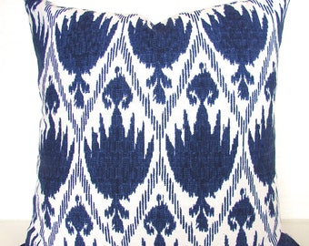 BLUE PILLOWS Navy Blue Throw Pillows Ikat Blue Throw pillow Covers 16 18x18 20 Dark Blue Pillow Covers Home and living Home Decor .Sale.