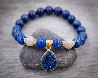 Blue stone bracelet Starry night Lapis Lazuli bracelet Moonstone Healing bracelet Druzy quarz bracelet Yoga gift for her Wrist mala beads