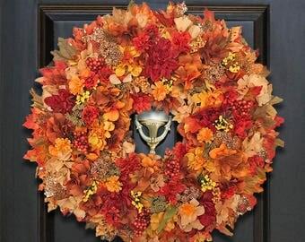 Wreaths for Fall, Fall Wreaths, Front Door Wreaths, Autumn Wreaths, Floral Wreath for Fall, Fall Harvest Wreath, Fall Flower Wreath