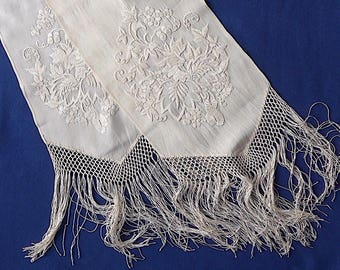 Chinese embroidered fringed remnants, Canton, 2 identical, antique.  2 hand embroidered remnants with macrame fringing, silk. c 1890s-c1910.