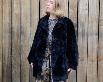 Vintage black coat 60's 70's crushed velvet - cotton rayon winter jacket faux fur coat, hippie glam rock boho vegan