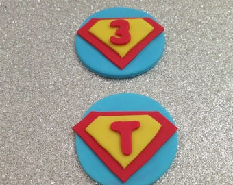 12 Initial and number Superhero Inspired  Fondant cupcake toppers