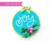 PDF Embroidery Pattern, Holly Ornament, Christmas Ornaments, Christmas Hoop Art, Holiday Gift, Xmas Embroidery, Holiday Decoration, Hannukah