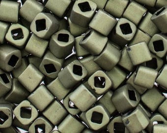 3mm Matte Dark Olive Toho Cube Beads - 4265 - 3mm Matte Dark Olive Cube Beads - Toho 617 -  3mm Cube - 10 Grams