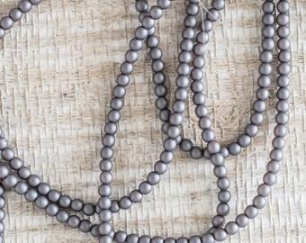 3mm Alabaster Metallic Steel Czech Druk Beads, Alabaster Metallic Steel Smooth Round Druk Beads, 50 Beads, 5146, Metallic Steel Gray Druk