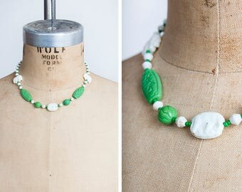 Vintage 1920s Max Neiger-Style Asian Elephant Czech Glass Choker Necklace