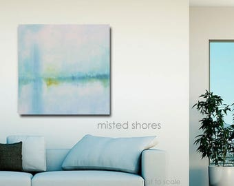 Landscape Original Oil Painting Abstract Modern Wall Art Painting Blue Yellow White Soft Waterscape Stretched Canvas Ready to Hang