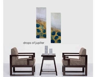 Original Wall Painting Abstract Modern Contemporary Art Diptych Canvas Gallery Gold Metallic Turquoise Blue Textured Home Decor DIY Hanging