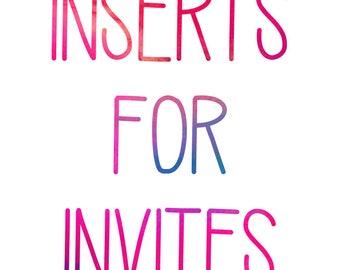 Made to Match Invitation Inserts