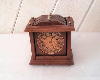 Vintage wood and cork coaster set, wooden clock coasters, set of six, 1970s,  1980s, vintage home decor