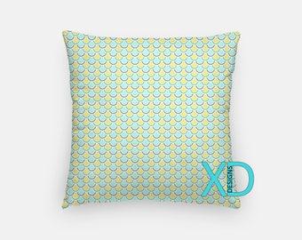 Fish Scale Pillow, Goldfish Pillow Cover, Tiled Pillow Case, Yellow, Blue Pillow, Artistic Design, Home Decor, Decorative Pillow Case, Sham
