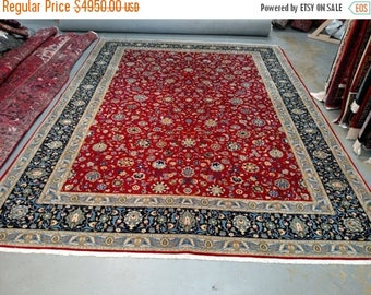 SUMMER CLEARANCE 1980s Vintage Room-Sized Kashan Persian Rug (3483)