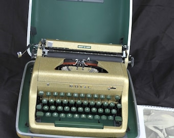 Refurbished  1954 Gold Royal PORTABLE Quiet Deluxe Typewriter   W/ WARRANTY