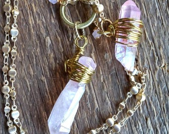 Raw Crystal Necklace, Pink AB Crystals, Raw Stone Necklace, Lariat Necklace, Y-Necklace, Quartz Necklace, Boho Necklace, Bohemian Jewelry